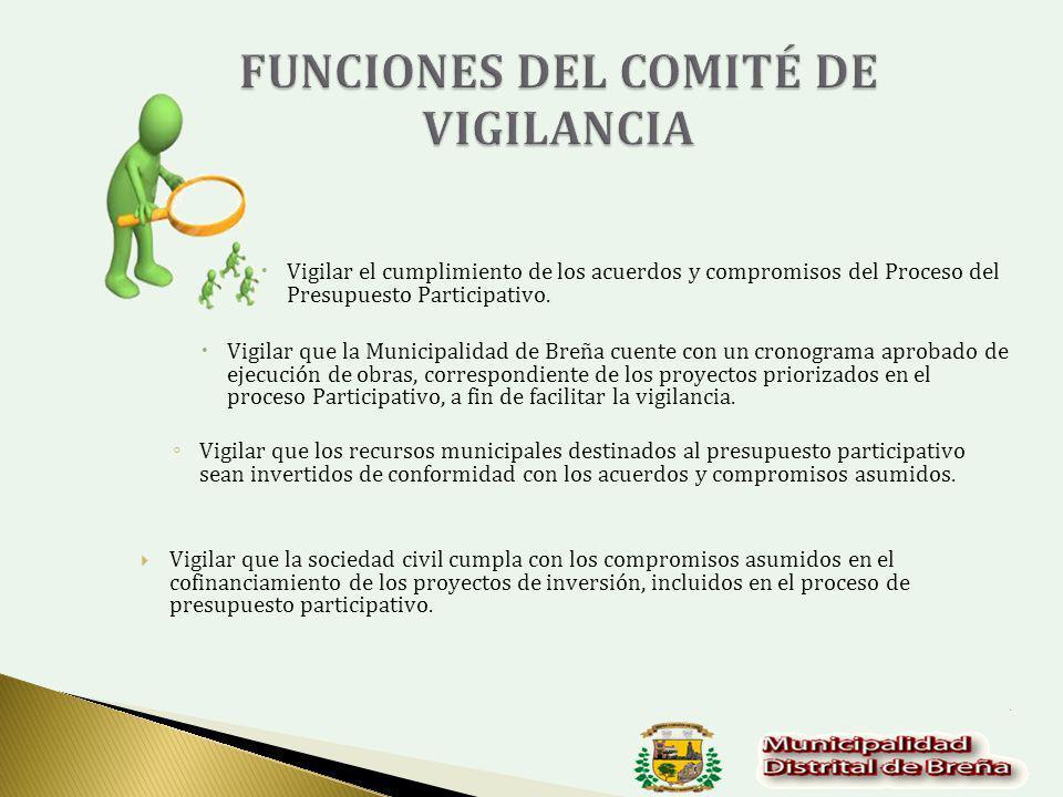 Vigilar el cumplimiento de los acuerdos y compromisos del Proceso del Presupuesto Participativo.