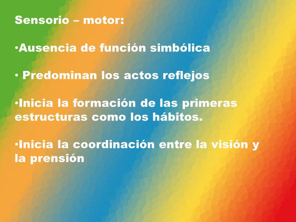 Sensorio – motor: Ausencia de función simbólica Predominan los actos reflejos Inicia la formación de las primeras estructuras como los hábitos. Inicia