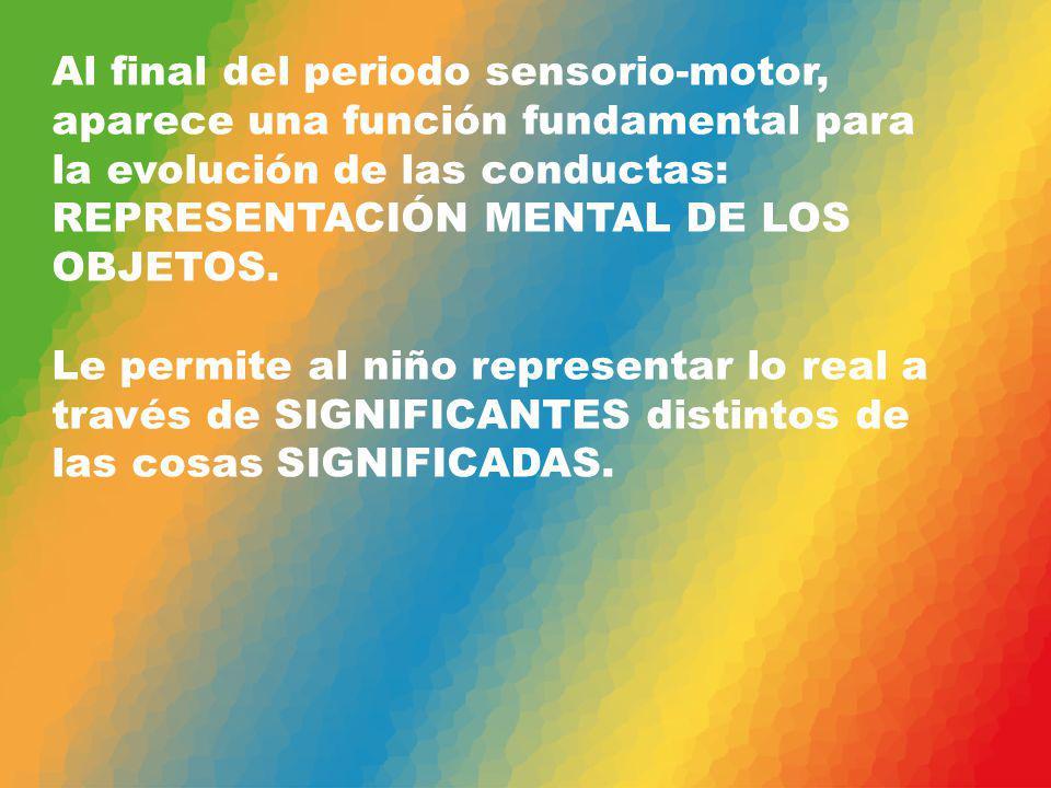 Al final del periodo sensorio-motor, aparece una función fundamental para la evolución de las conductas: REPRESENTACIÓN MENTAL DE LOS OBJETOS. Le perm