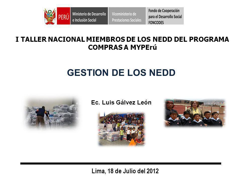 GESTION DE LOS NEDD Lima, 18 de Julio del 2012 Ec.
