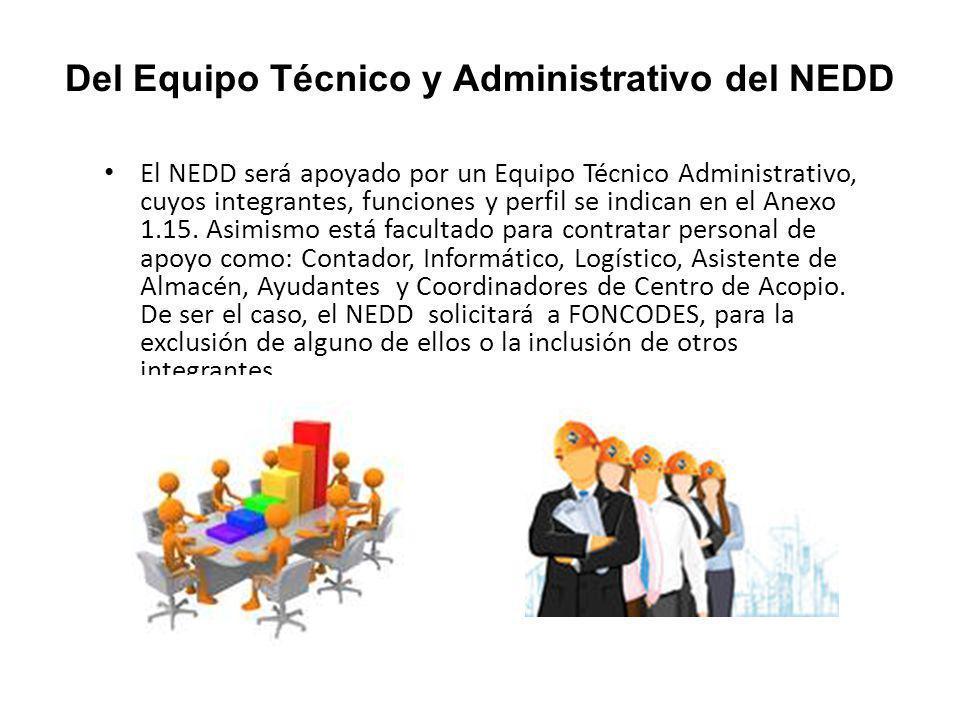 Del Equipo Técnico y Administrativo del NEDD El NEDD será apoyado por un Equipo Técnico Administrativo, cuyos integrantes, funciones y perfil se indican en el Anexo 1.15.