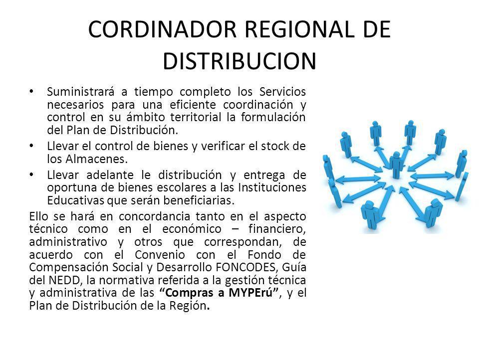 CORDINADOR REGIONAL DE DISTRIBUCION Suministrará a tiempo completo los Servicios necesarios para una eficiente coordinación y control en su ámbito territorial la formulación del Plan de Distribución.
