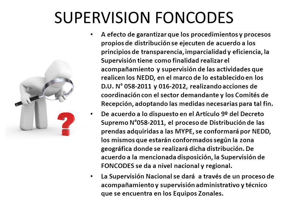 SUPERVISION FONCODES A efecto de garantizar que los procedimientos y procesos propios de distribución se ejecuten de acuerdo a los principios de transparencia, imparcialidad y eficiencia, la Supervisión tiene como finalidad realizar el acompañamiento y supervisión de las actividades que realicen los NEDD, en el marco de lo establecido en los D.U.