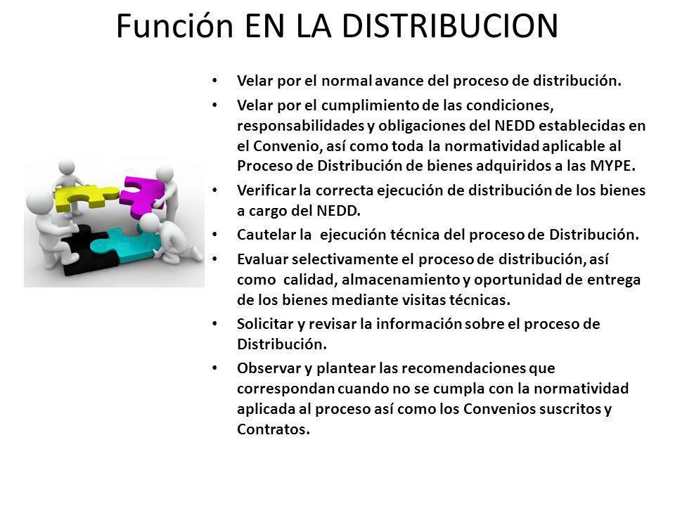 Función EN LA DISTRIBUCION Velar por el normal avance del proceso de distribución.
