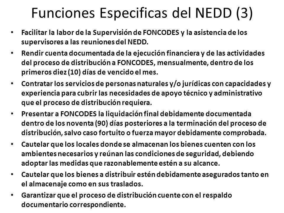 Funciones Especificas del NEDD (3) Facilitar la labor de la Supervisión de FONCODES y la asistencia de los supervisores a las reuniones del NEDD.