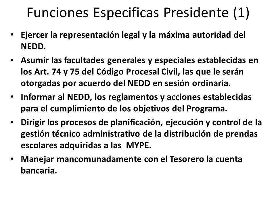 Funciones Especificas Presidente (1) Ejercer la representación legal y la máxima autoridad del NEDD.