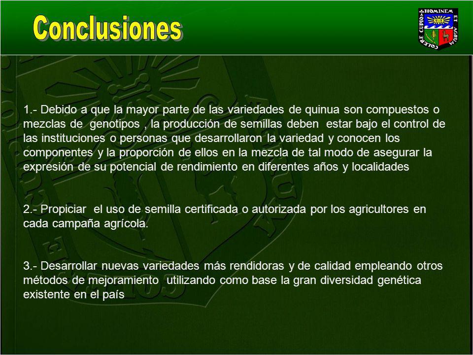 1.- Debido a que la mayor parte de las variedades de quinua son compuestos o mezclas de genotipos, la producción de semillas deben estar bajo el contr