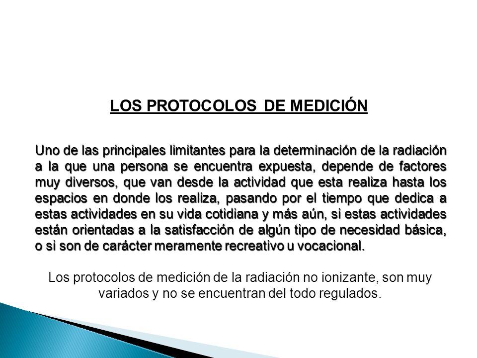 LOS PROTOCOLOS DE MEDICIÓN Uno de las principales limitantes para la determinación de la radiación a la que una persona se encuentra expuesta, depende