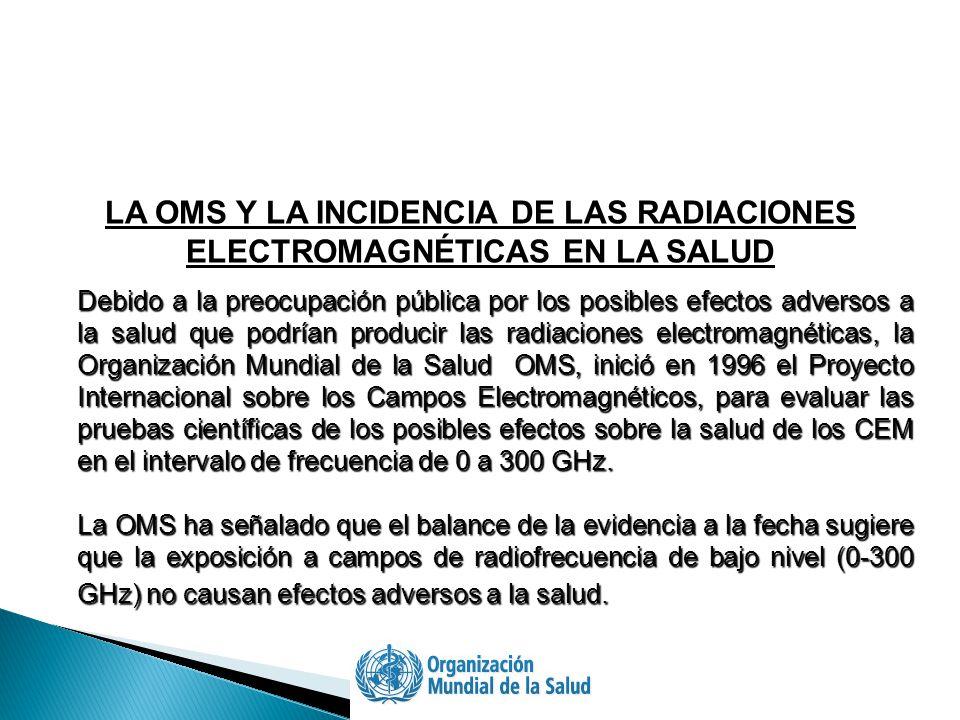 Debido a la preocupación pública por los posibles efectos adversos a la salud que podrían producir las radiaciones electromagnéticas, la Organización