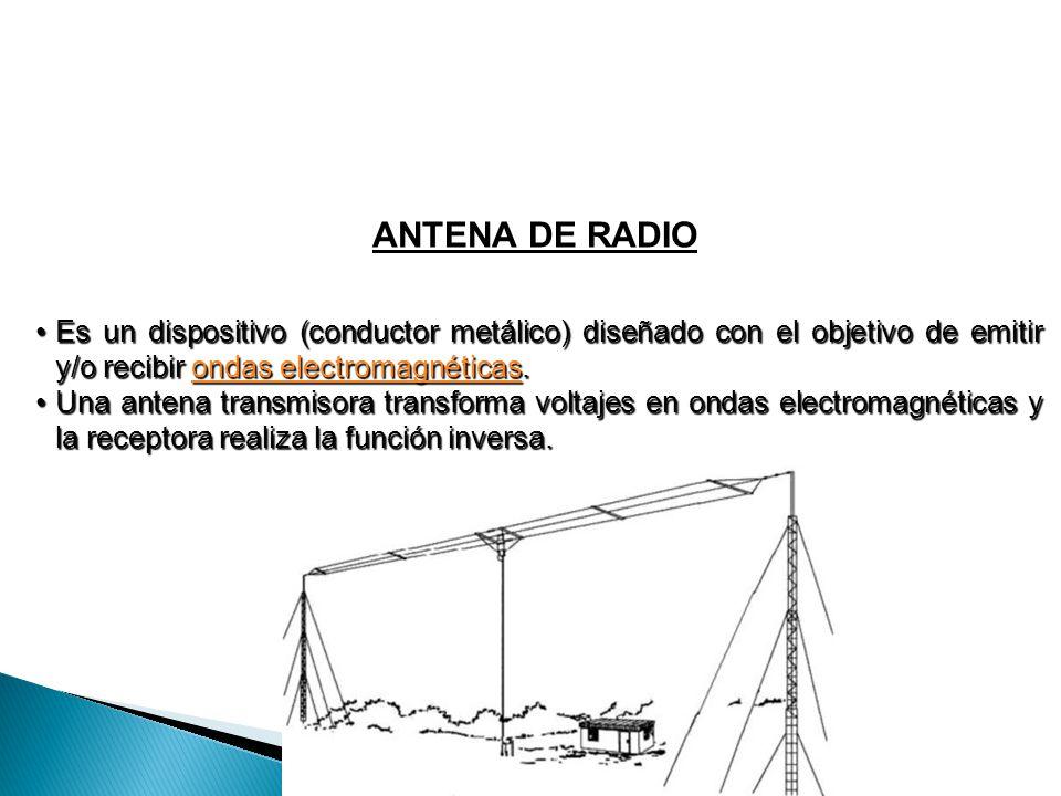 ANTENA DE RADIO Es un dispositivo (conductor metálico) diseñado con el objetivo de emitir y/o recibir ondas electromagnéticas.Es un dispositivo (condu