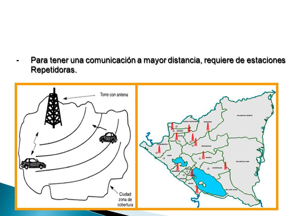 Para tener una comunicación a mayor distancia, requiere de estaciones Repetidoras. -Para tener una comunicación a mayor distancia, requiere de estacio
