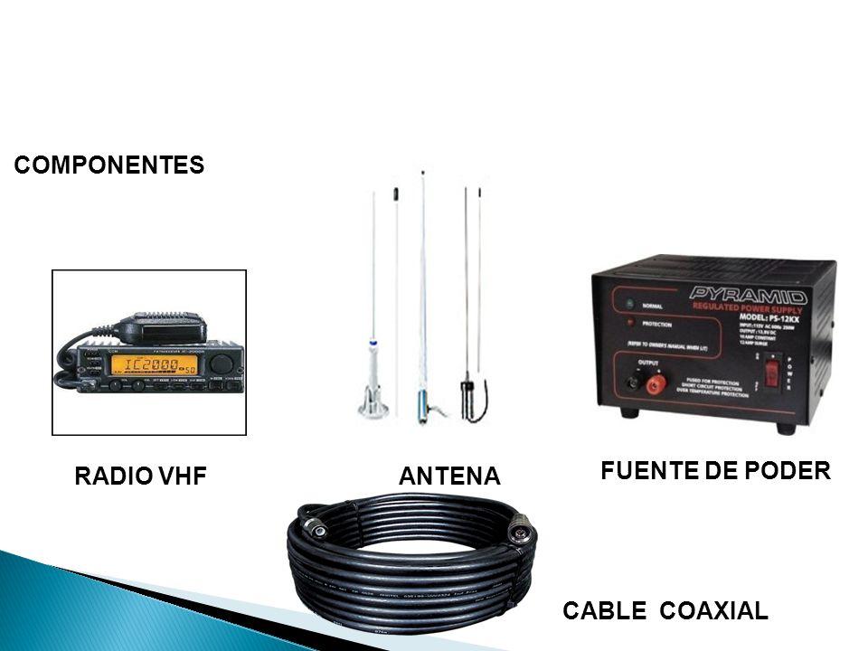 RADIO VHFANTENA FUENTE DE PODER CABLE COAXIAL COMPONENTES