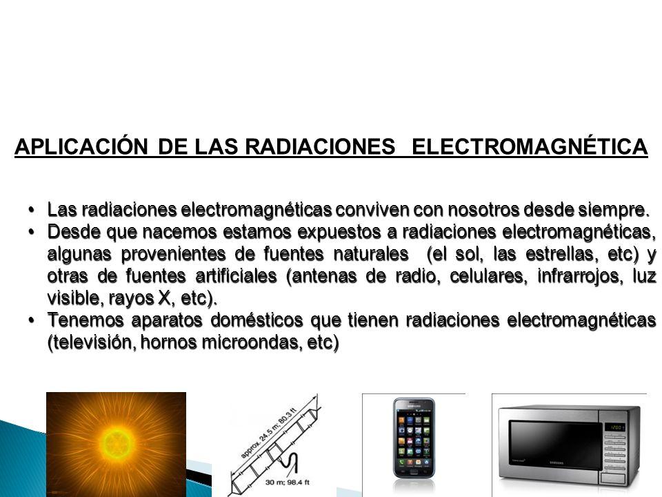 APLICACIÓN DE LAS RADIACIONES ELECTROMAGNÉTICA Las radiaciones electromagnéticas conviven con nosotros desde siempre.Las radiaciones electromagnéticas
