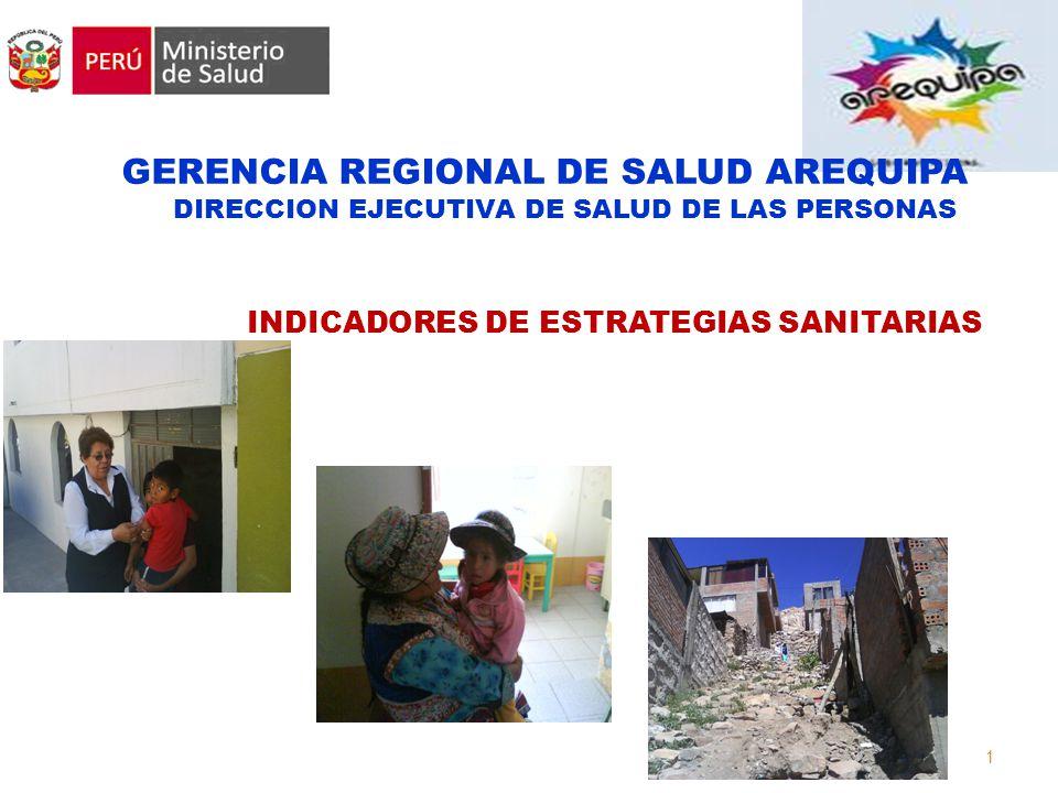 1 Promoviendo la salud de los peruanos GERENCIA REGIONAL DE SALUD AREQUIPA DIRECCION EJECUTIVA DE SALUD DE LAS PERSONAS INDICADORES DE ESTRATEGIAS SANITARIAS