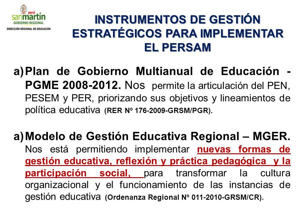 INSTRUMENTOS DE GESTIÓN ESTRATÉGICOS PARA IMPLEMENTAR EL PERSAM a)Plan de Gobierno Multianual de Educación - PGME 2008-2012. Nos permite la articulaci
