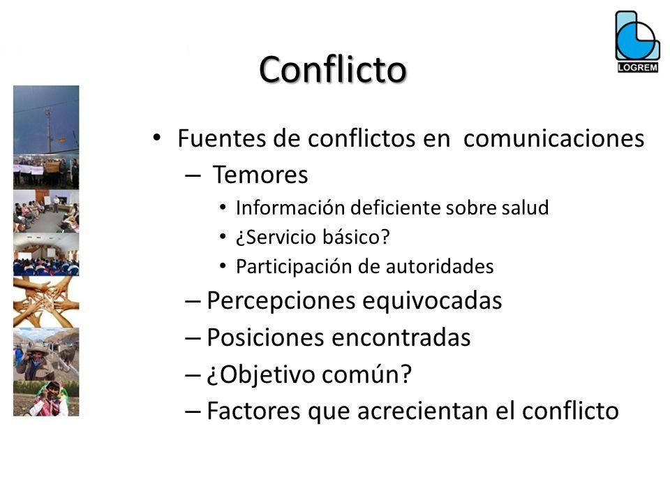 Conflicto Fuentes de conflictos en comunicaciones – Temores Información deficiente sobre salud ¿Servicio básico? Participación de autoridades – Percep
