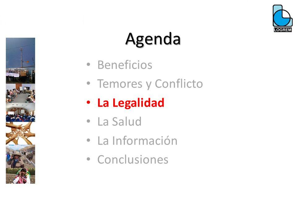 Agenda Beneficios Temores y Conflicto La Legalidad La Salud La Información Conclusiones