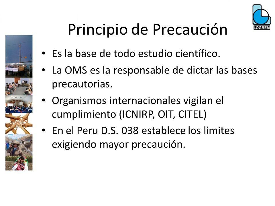 Principio de Precaución Es la base de todo estudio científico. La OMS es la responsable de dictar las bases precautorias. Organismos internacionales v