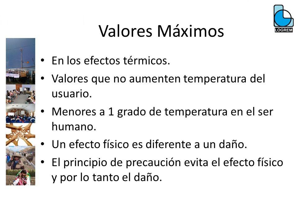 Valores Máximos En los efectos térmicos. Valores que no aumenten temperatura del usuario. Menores a 1 grado de temperatura en el ser humano. Un efecto