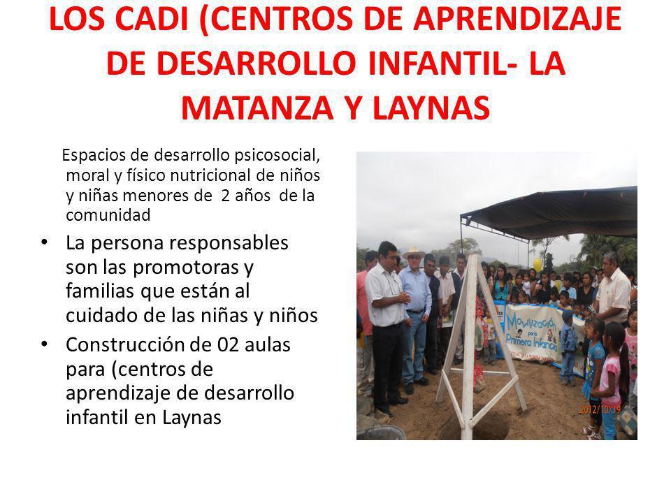 LOS CADI (CENTROS DE APRENDIZAJE DE DESARROLLO INFANTIL- LA MATANZA Y LAYNAS Espacios de desarrollo psicosocial, moral y físico nutricional de niños y
