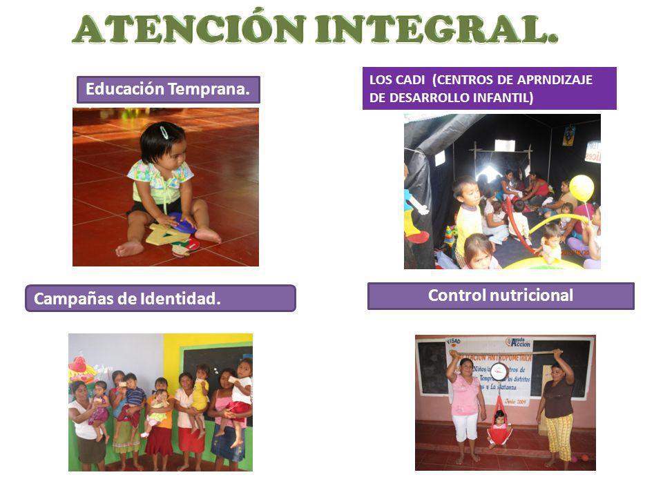 Educación Temprana. Control nutricional Campañas de Identidad. LOS CADI (CENTROS DE APRNDIZAJE DE DESARROLLO INFANTIL)