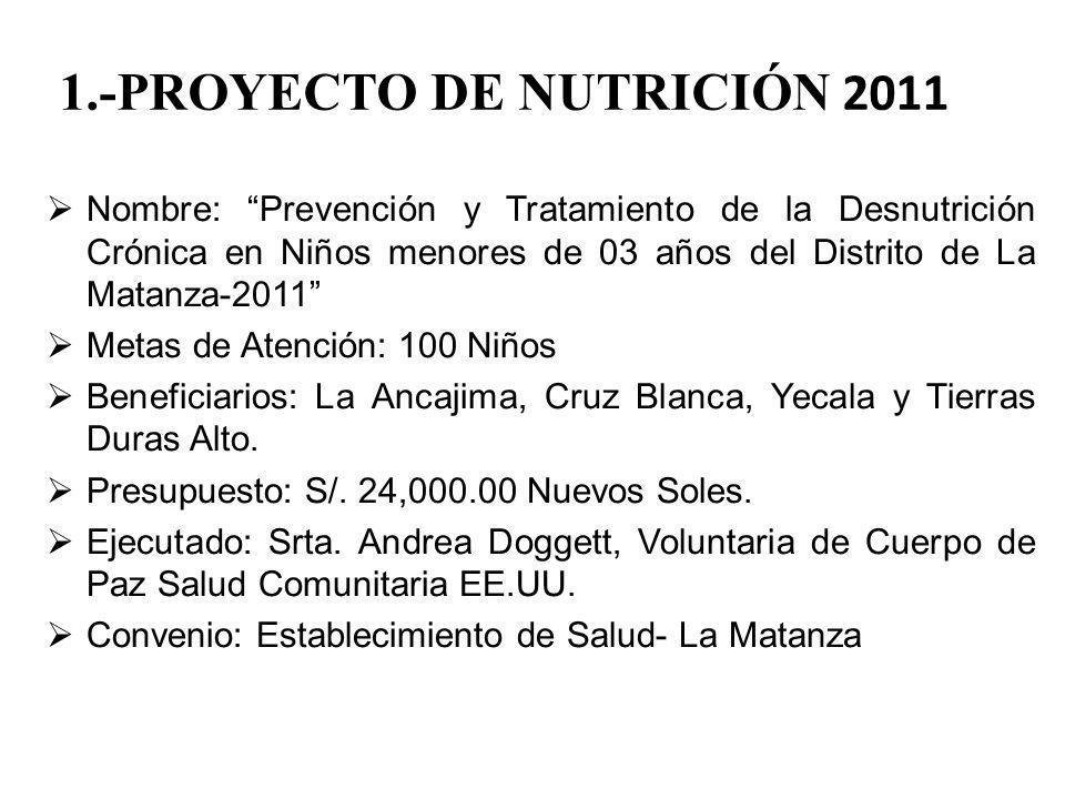 1.-PROYECTO DE NUTRICIÓN 2011 Nombre: Prevención y Tratamiento de la Desnutrición Crónica en Niños menores de 03 años del Distrito de La Matanza-2011