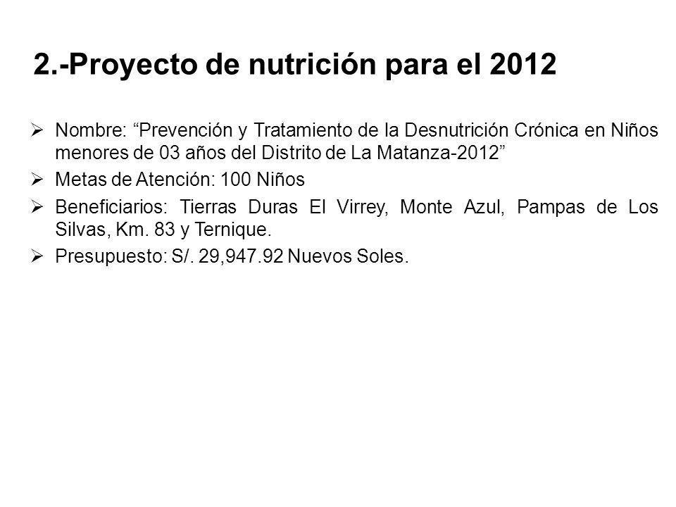 2.-Proyecto de nutrición para el 2012 Nombre: Prevención y Tratamiento de la Desnutrición Crónica en Niños menores de 03 años del Distrito de La Matan