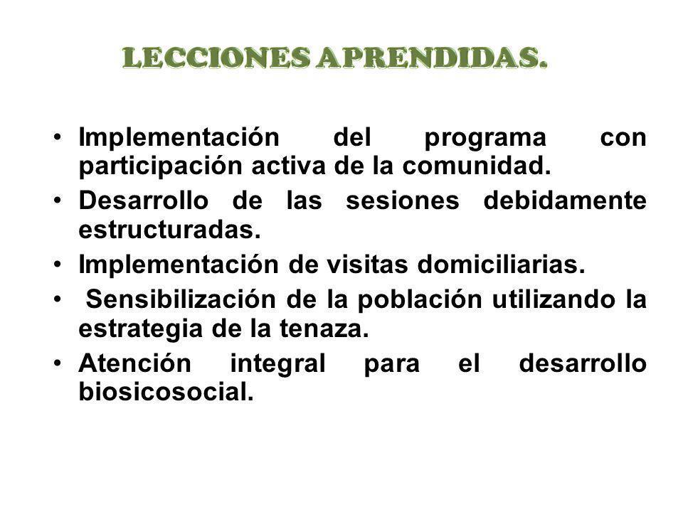 Implementación del programa con participación activa de la comunidad. Desarrollo de las sesiones debidamente estructuradas. Implementación de visitas
