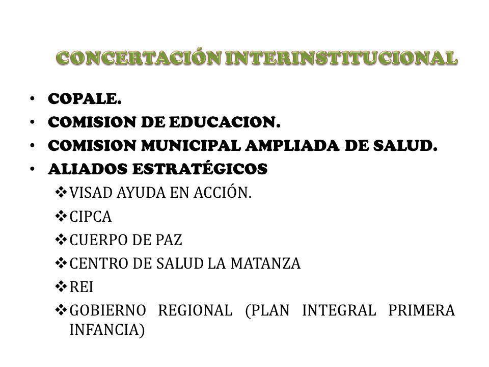 COPALE. COMISION DE EDUCACION. COMISION MUNICIPAL AMPLIADA DE SALUD. ALIADOS ESTRATÉGICOS VISAD AYUDA EN ACCIÓN. CIPCA CUERPO DE PAZ CENTRO DE SALUD L