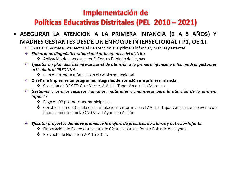 ASEGURAR LA ATENCION A LA PRIMERA INFANCIA (0 A 5 AÑOS) Y MADRES GESTANTES DESDE UN ENFOQUE INTERSECTORIAL ( P1, OE.1).