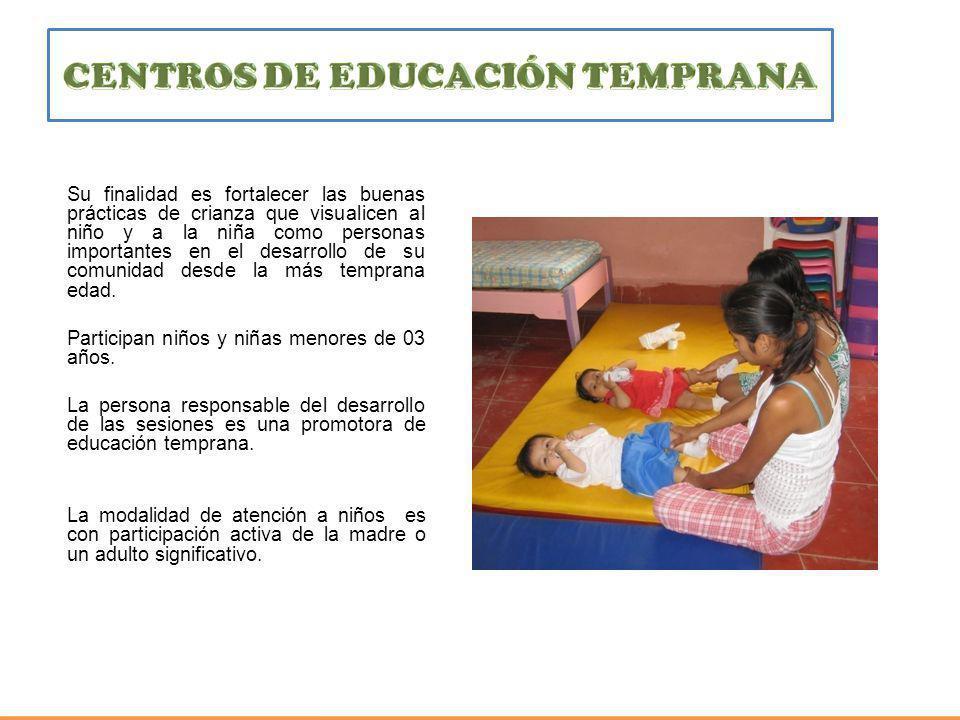 Su finalidad es fortalecer las buenas prácticas de crianza que visualicen al niño y a la niña como personas importantes en el desarrollo de su comunid