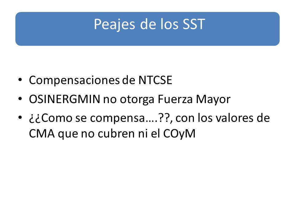 Compensaciones de NTCSE OSINERGMIN no otorga Fuerza Mayor ¿¿Como se compensa…. , con los valores de CMA que no cubren ni el COyM Peajes de los SST