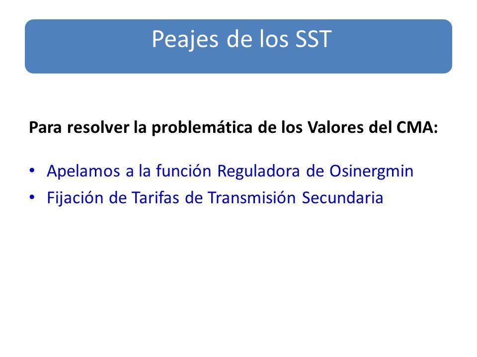 Para resolver la problemática de los Valores del CMA: Apelamos a la función Reguladora de Osinergmin Fijación de Tarifas de Transmisión Secundaria Peajes de los SST