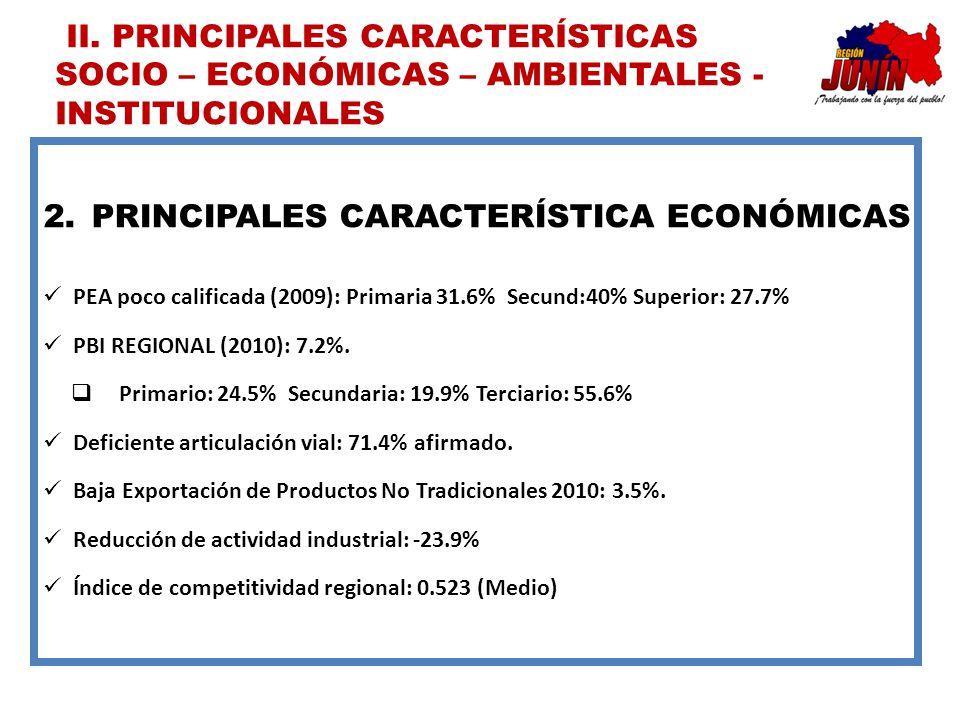 2.PRINCIPALES CARACTERÍSTICA ECONÓMICAS PEA poco calificada (2009): Primaria 31.6% Secund:40% Superior: 27.7% PBI REGIONAL (2010): 7.2%. Primario: 24.