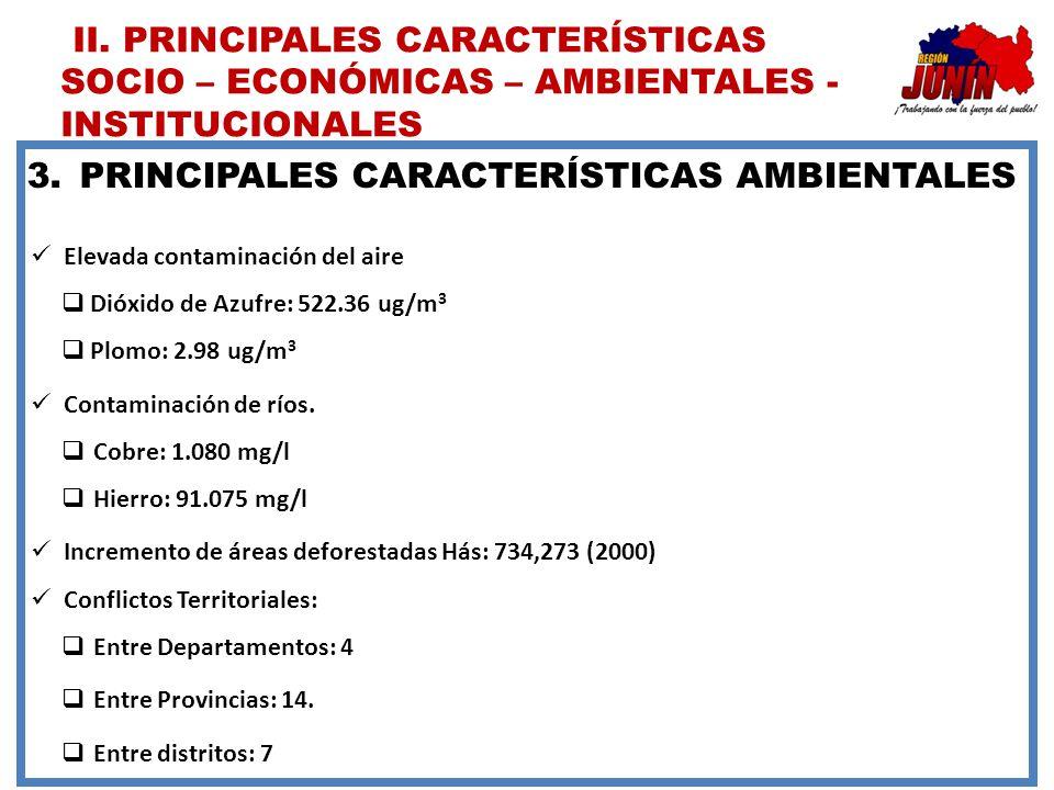 3.PRINCIPALES CARACTERÍSTICAS AMBIENTALES Elevada contaminación del aire Dióxido de Azufre: 522.36 ug/m 3 Plomo: 2.98 ug/m 3 Contaminación de ríos. Co