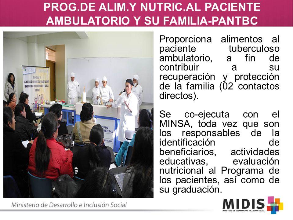 Proporciona alimentos al paciente tuberculoso ambulatorio, a fin de contribuir a su recuperación y protección de la familia (02 contactos directos). S