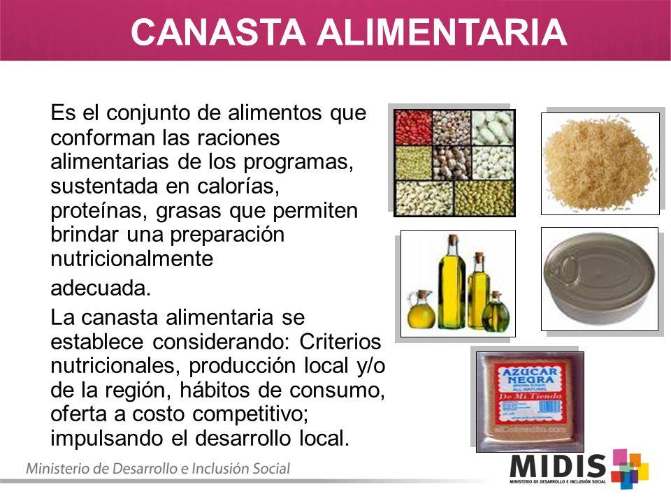 Es el conjunto de alimentos que conforman las raciones alimentarias de los programas, sustentada en calorías, proteínas, grasas que permiten brindar u