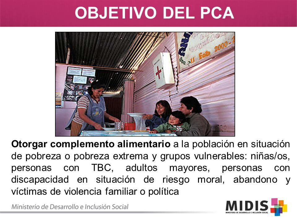 OBJETIVO DEL PCA Otorgar complemento alimentario a la población en situación de pobreza o pobreza extrema y grupos vulnerables: niñas/os, personas con