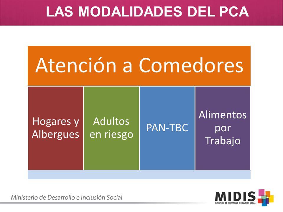 LAS MODALIDADES DEL PCA Atención a Comedores Hogares y Albergues Adultos en riesgo PAN-TBC Alimentos por Trabajo