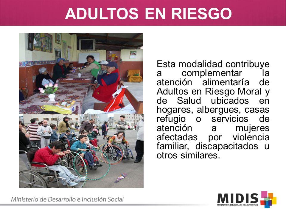 Esta modalidad contribuye a complementar la atención alimentaría de Adultos en Riesgo Moral y de Salud ubicados en hogares, albergues, casas refugio o