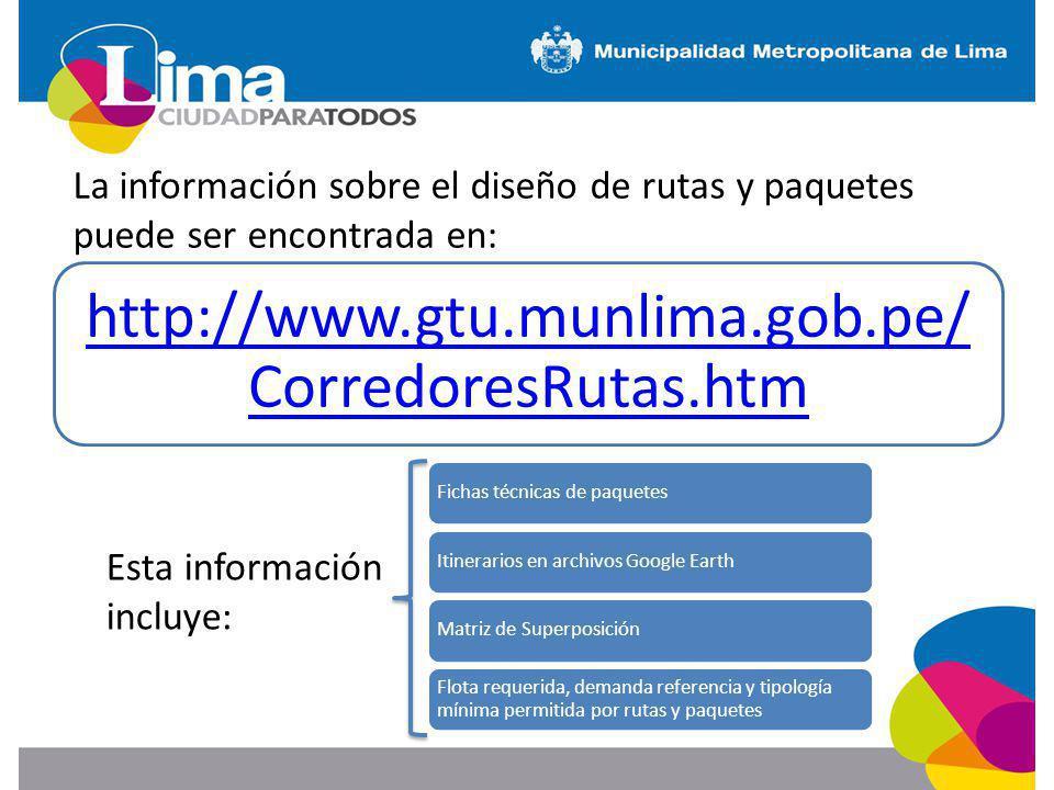 http://www.gtu.munlima.gob.pe/ CorredoresRutas.htm Fichas técnicas de paquetesItinerarios en archivos Google EarthMatriz de Superposición Flota requer