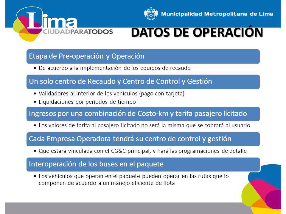 DATOS DE OPERACIÓN Etapa de Pre-operación y Operación De acuerdo a la implementación de los equipos de recaudo Un solo centro de Recaudo y Centro de C