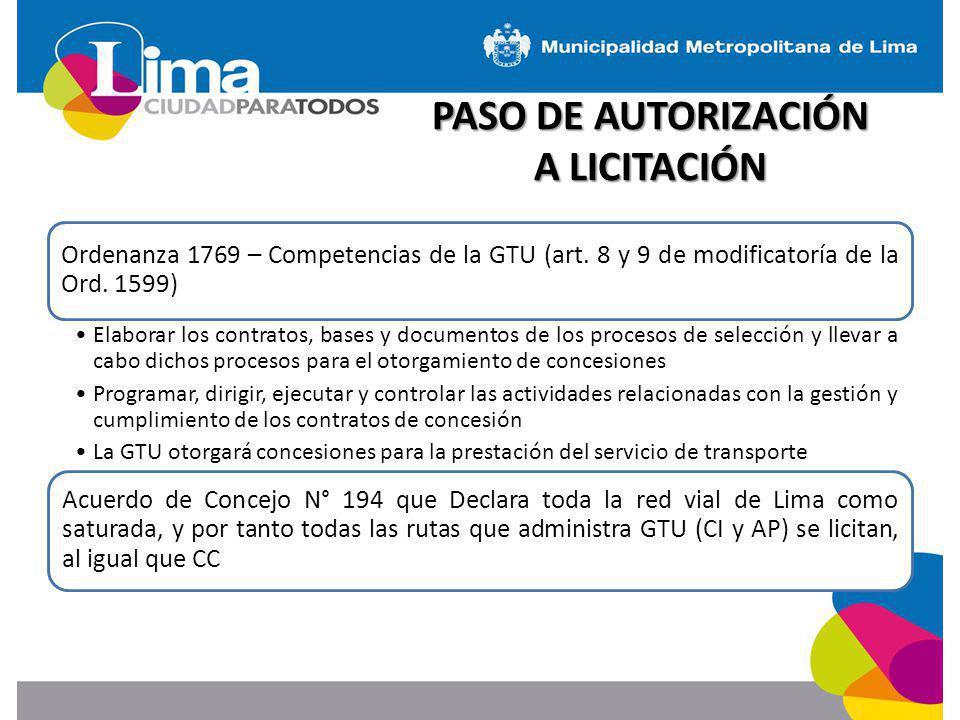 PASO DE AUTORIZACIÓN A LICITACIÓN Ordenanza 1769 – Competencias de la GTU (art. 8 y 9 de modificatoría de la Ord. 1599) Elaborar los contratos, bases