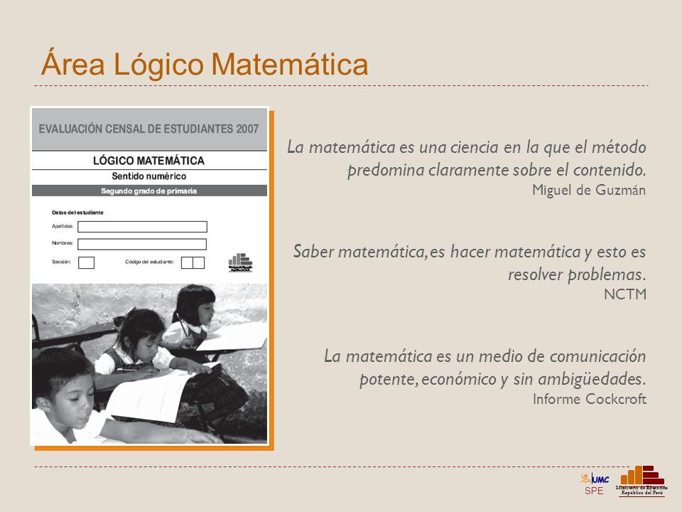 SPE Ministerio de Educación República del Perú La matemática es una ciencia en la que el método predomina claramente sobre el contenido. Miguel de Guz