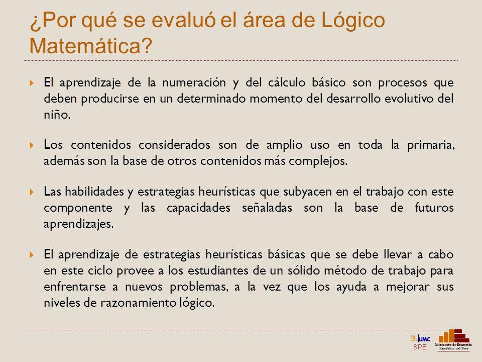 SPE Ministerio de Educación República del Perú ¿Por qué se evaluó el área de Lógico Matemática? El aprendizaje de la numeración y del cálculo básico s