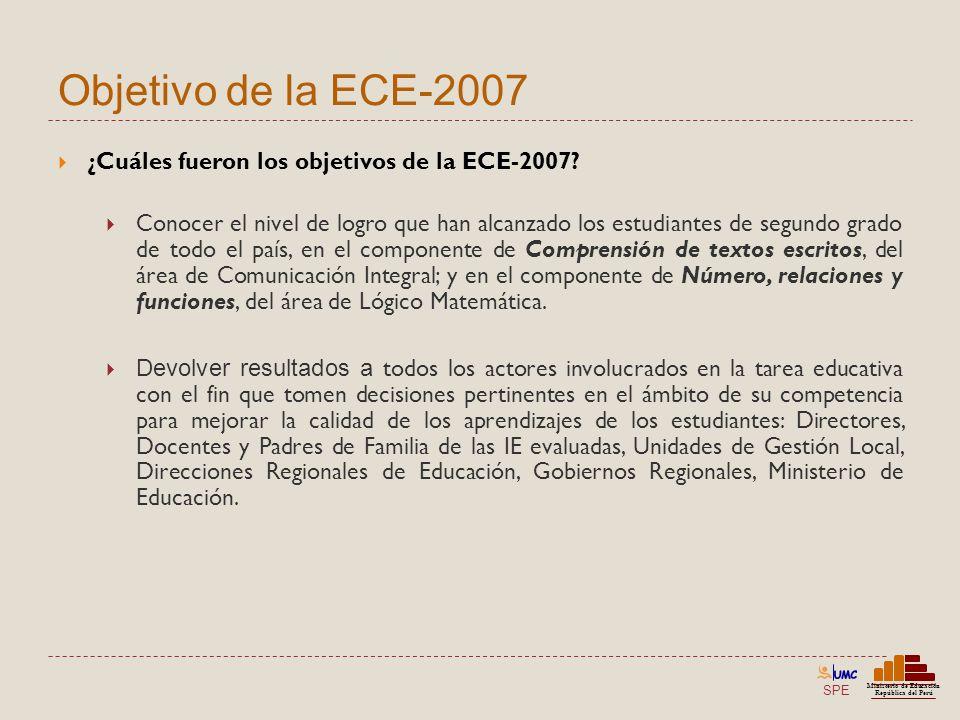 SPE Ministerio de Educación República del Perú Objetivo de la ECE-2007 ¿Cuáles fueron los objetivos de la ECE-2007? Conocer el nivel de logro que han