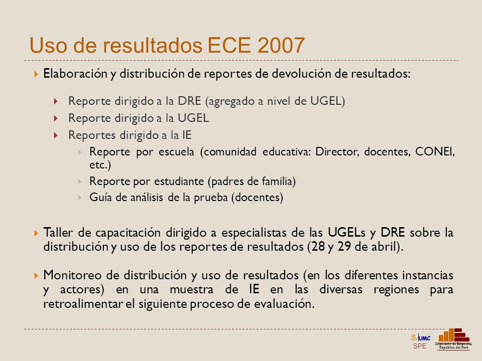 SPE Ministerio de Educación República del Perú Uso de resultados ECE 2007 Elaboración y distribución de reportes de devolución de resultados: Reporte