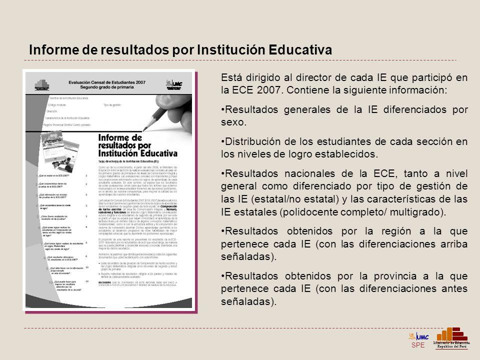 SPE Ministerio de Educación República del Perú Informe de resultados por Institución Educativa 59 Está dirigido al director de cada IE que participó e