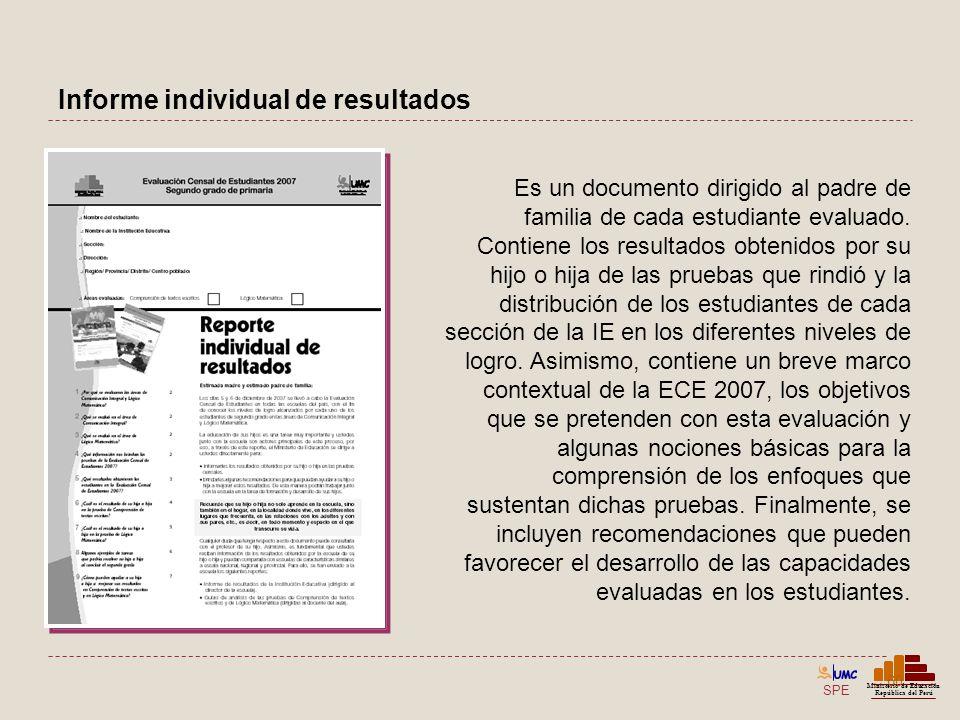 SPE Ministerio de Educación República del Perú Informe individual de resultados 60 Es un documento dirigido al padre de familia de cada estudiante eva