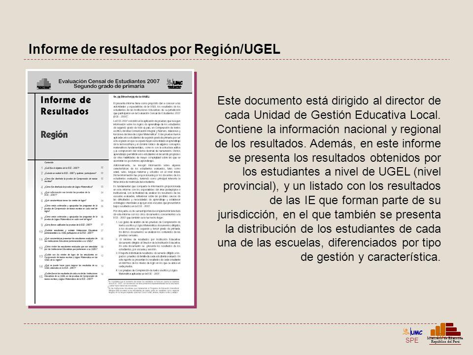 SPE Ministerio de Educación República del Perú Informe de resultados por Región/UGEL 62 Este documento está dirigido al director de cada Unidad de Ges